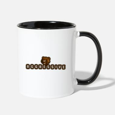 Aggressive aggressive bear - Two-Tone Mug