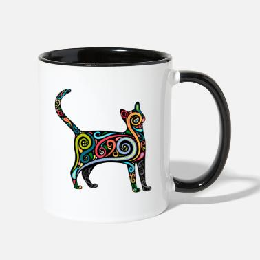 Cat silhouette with colorful swirls - Two-Tone Mug