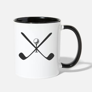 Cross Golf Golf crossed clubs with a golf ball on a tee - Two-Tone Mug