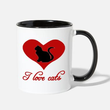 Cat Fan I Love Cats red, cats, cat fan - Two-Tone Mug