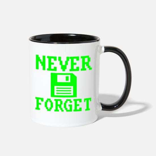 Geek Mugs & Drinkware - Never Forget Floppy Disc Retro Tech Nostalgia - Two-Tone Mug white/black