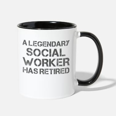 Worker Funny Retired Social Worker Retirement Gift Idea - Two-Tone Mug