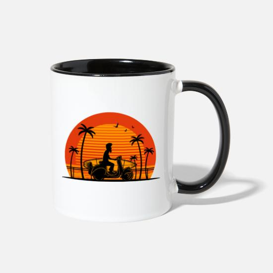 Scooter Mugs & Drinkware - Surfer on Scooter with Surfboard - Two-Tone Mug white/black