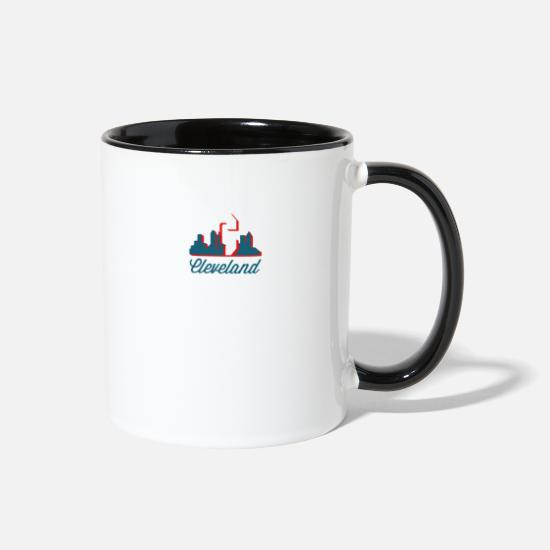 Cleveland Mugs & Drinkware - Hometown product Cleveland Ohio Themed gifts - Two-Tone Mug white/black