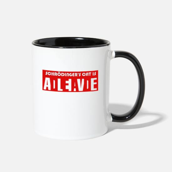 Cat Mugs & Drinkware - Schrodinger's Cat Dead Or Alive Paradox Theory - Two-Tone Mug white/black