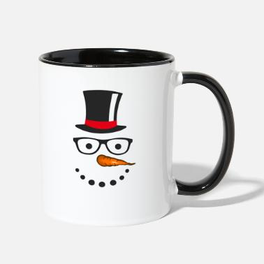 Snowman Funny Snowman Face Hat Gift Idea Christmas T-Shirt - Two-Tone Mug