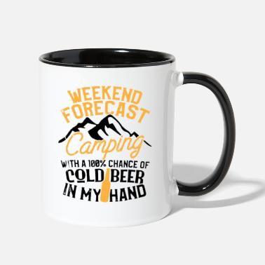 Camping Funny Camping Weekend Forecast 100 Chance Beer - Two-Tone Mug