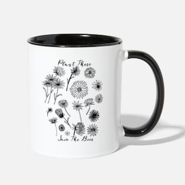Gardener Plant These Save The Bees Botanical Flowers - Two-Tone Mug