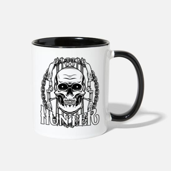 Raider Mugs & Drinkware - Cool Bowhunter Skull Archery Bow And Arrow Hunter - Two-Tone Mug white/black