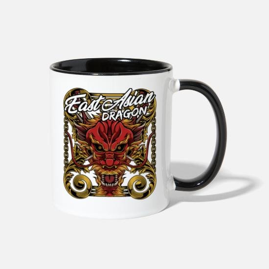 Tails Mugs & Drinkware - Cool Chinese Dragon Head Mythical Beast Legendary - Two-Tone Mug white/black