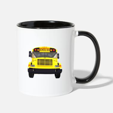 Drive-go-by-car i drive a school bus and car studen drive car bus - Two-Tone Mug