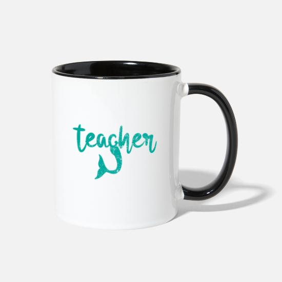 Professor Mugs & Drinkware - Mermaid Teacher - Two-Tone Mug white/black