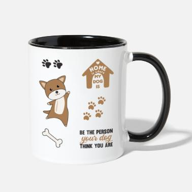 Set Dog Brown Puppy Paws Cute Sticker Pack - Two-Tone Mug