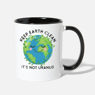 Decoration Happy Earth Day Keep Earth Clean Funny Uranus Scie - Two-Tone Mug