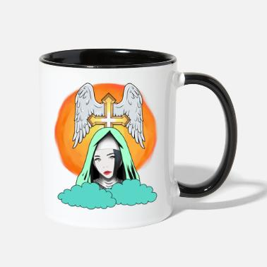 Fantasy Cross Heaven Nun Fantasy Angel Bible God Wings - Two-Tone Mug