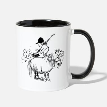 Thelwell Spring Cleaning Sweeping Horse Thelwell Spring Cleaning Sweeping Horse - Two-Tone Mug