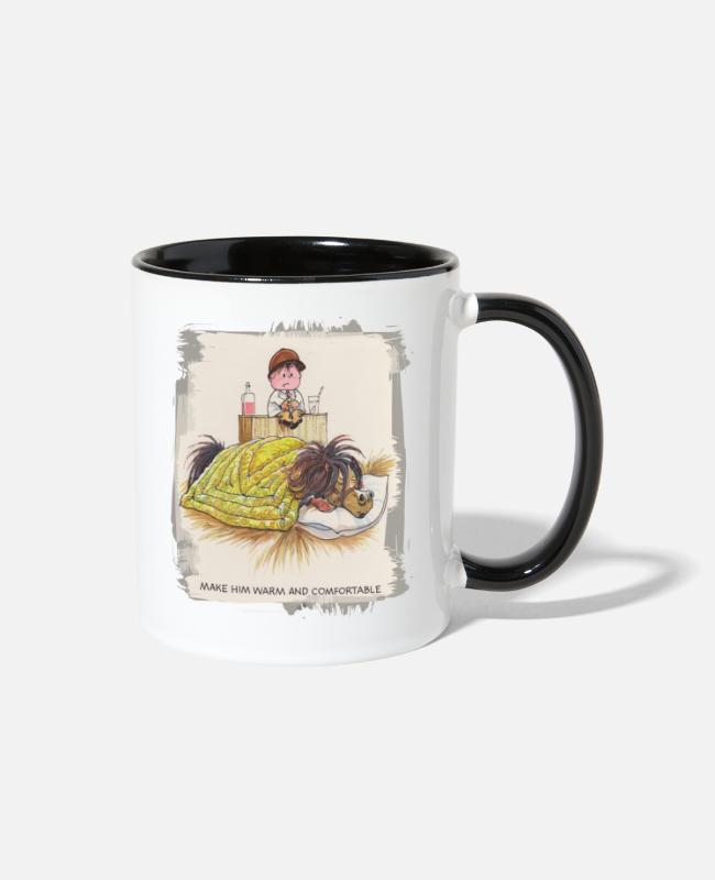 Riding Academy Mugs & Cups - Thelwell Sleeping Horse Warm And Confortable - Two-Tone Mug white/black