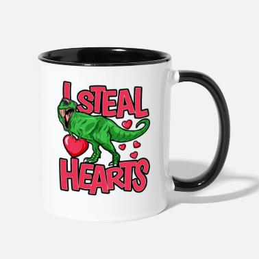 Steal I Steal Hearts T Rex dinosaur Funny Gift For - Two-Tone Mug