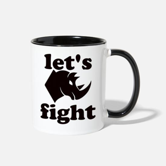 Conflict Mugs & Drinkware - battle rhinoceros - Two-Tone Mug white/black