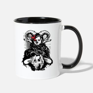 Horror Evil Girl, Rocker, Horror, Devil Halloween - Two-Tone Mug
