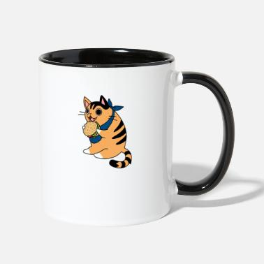 Beautiful Burger Burger cat with bandana - Two-Tone Mug