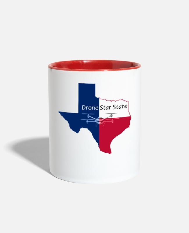 Ready Mugs & Cups - Drone Star State - Two-Tone Mug white/red