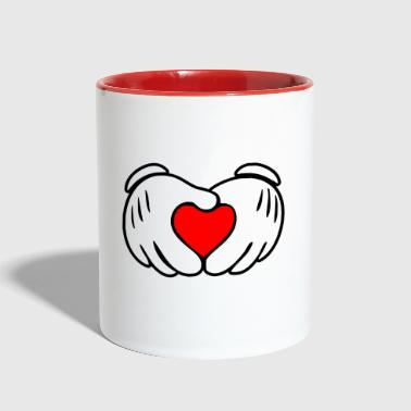Mickey heart hands - Contrast Coffee Mug