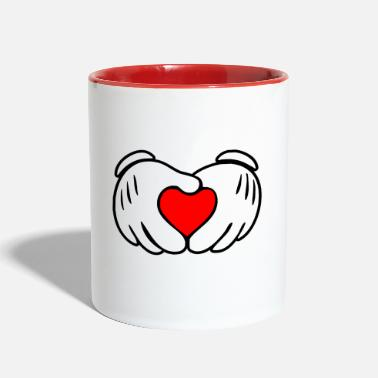 Mouse Mickey heart hands - Contrast Coffee Mug