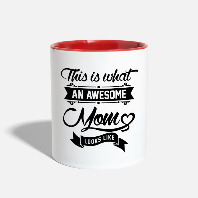 Baby Mugs & Drinkware - This is what an awesome Mom looks like - Two-Tone Mug white/red