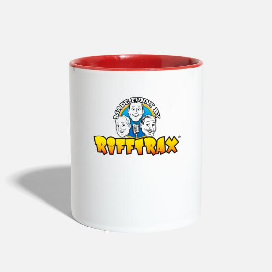 "Rifftrax Mugs & Drinkware - RiffTrax ""Made Funny By"" Shirt - Two-Tone Mug white/red"