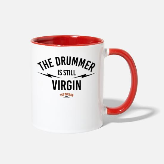 Bass Mugs & Drinkware - the drummer is still virgin - Two-Tone Mug white/red
