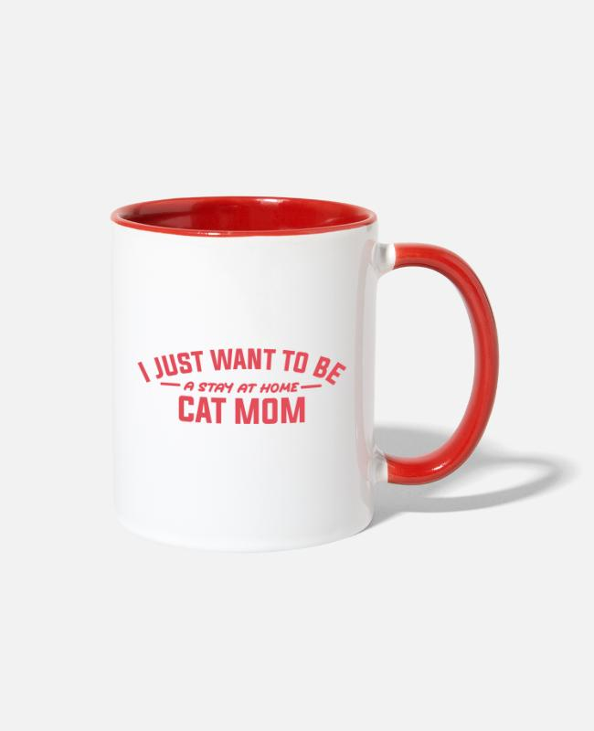 Kitty Cat Mugs & Cups - Funny Cat Mom Shirts| Funny Cat Shirts| Cat Lover - Two-Tone Mug white/red