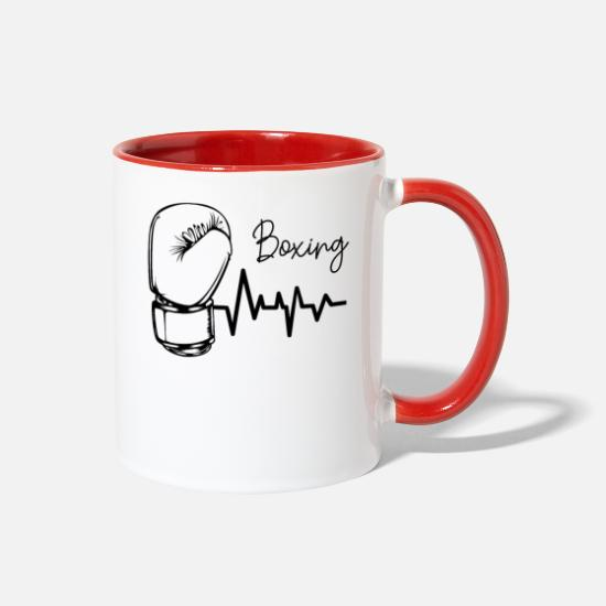 Boxer Mugs & Drinkware - Boxing Heartbeat EKG Boxing Gloves Boxer Gift - Two-Tone Mug white/red