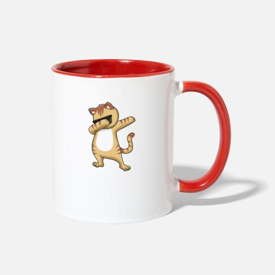 Cat Mugs & Drinkware - Dabbing cat with sunglasses cartoon - Two-Tone Mug white/red