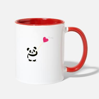 panda heart street art minimal baer cute love - Two-Tone Mug