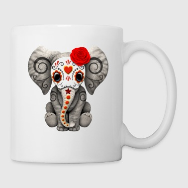 Red Sugar Skull Elephant - Coffee/Tea Mug