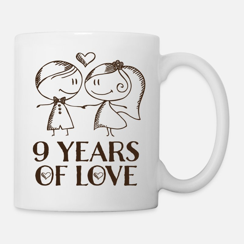 Cute Mugs & Drinkware - 9th Anniversary Love Gift - Mug white