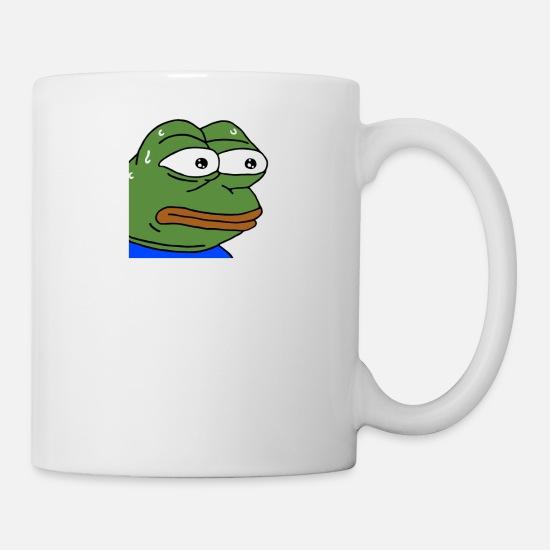 Nervous Pepe - monkaS (Twitch Emote) Coffee/Tea Mug - white