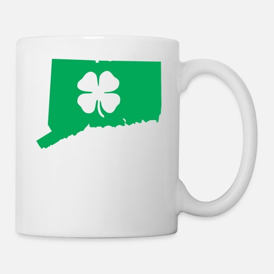 Usa Mugs & Drinkware - Connecticut Usa Saint Patricks Day Map - Mug white
