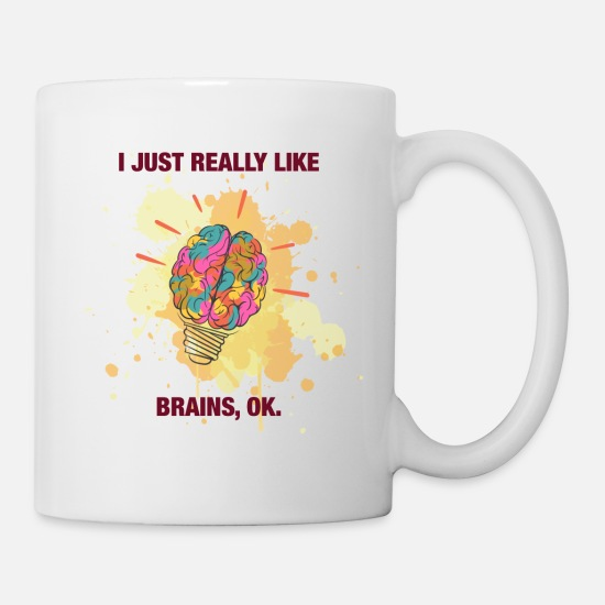 Knitting Mugs & Drinkware - I Just Really Like Brains - Mug white