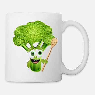 Floret funny cartoon broccoli florets with wooden spoon - Mug