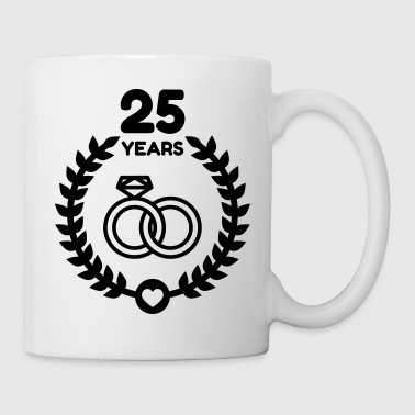 Marriage Mariage Wedding Anniversary 25 Silver - Coffee/Tea Mug