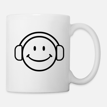 Headphones DJ Happy Face - VECTOR - Mug
