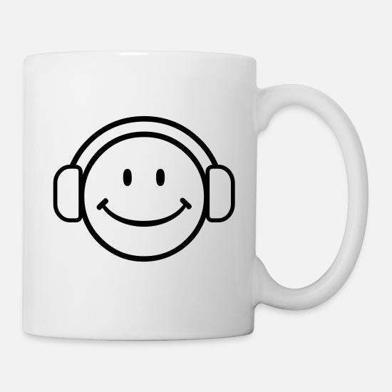 DJ Happy Face - VECTOR Coffee/Tea Mug - white