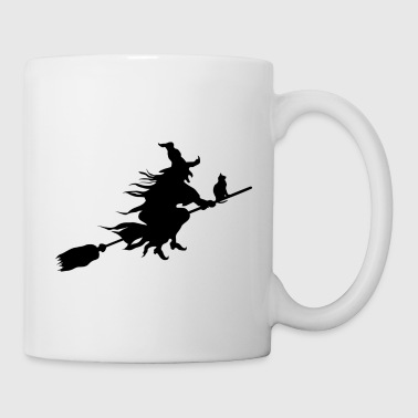 witch with a cat on a broom stick - Coffee/Tea Mug