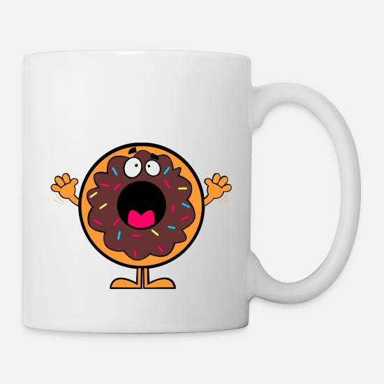 Scaredy Cat Mugs & Drinkware - scared donut - Mug white