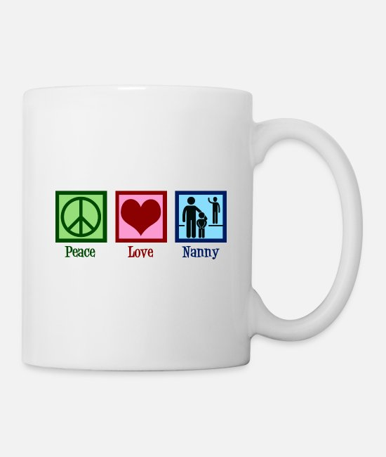 Au-pair Mugs & Cups - Peace Love Nanny - Mug white