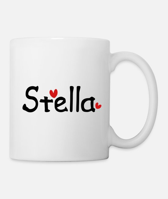 Red Mugs & Cups - Name Stella txt hearts vector graphic line art - Mug white
