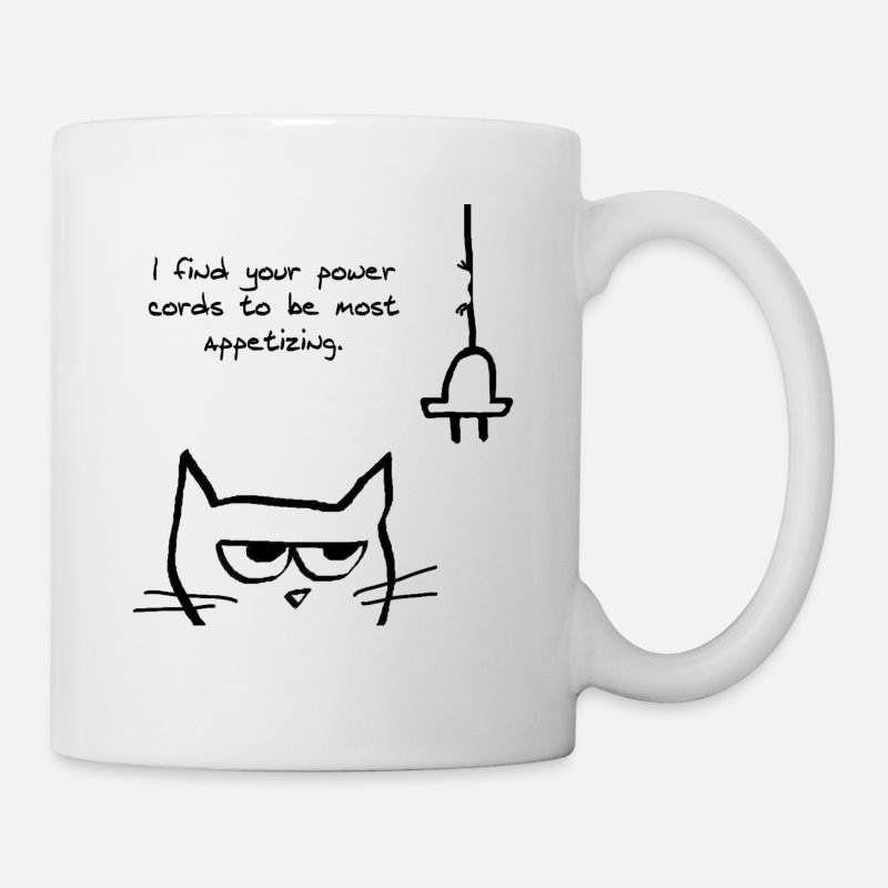 Cat Mugs & Drinkware - Angry Cat Loves to Chew Cords - Mug white