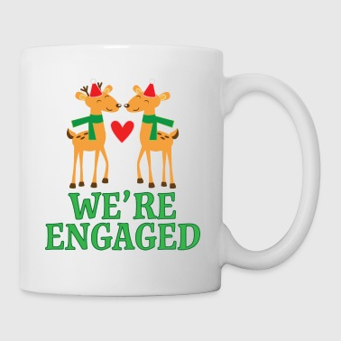 Christmas Engagement We're Engaged Reindeer - Coffee/Tea Mug